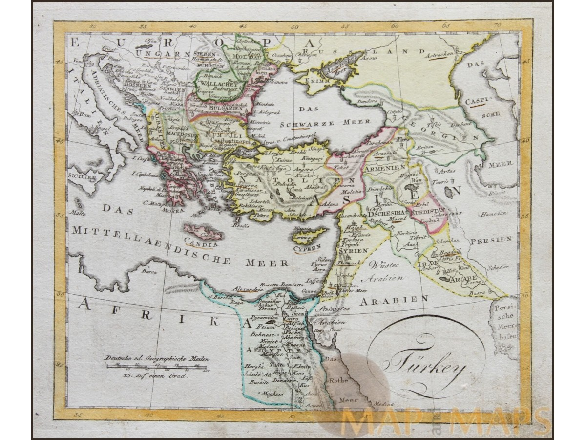 turkey empire in europe and asia old map by walch 1812