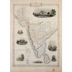 Antique map of Southern India Ceylon by Tallis/Rakin