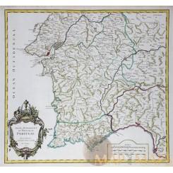 1751 Vaugondy antique map Royaume De Portugal Lisbon.