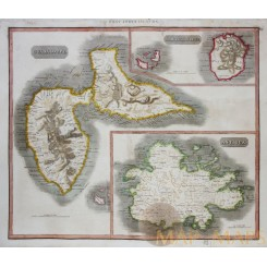 Guadeloupe Antigua Marie-Galante Old map Thomson 1817