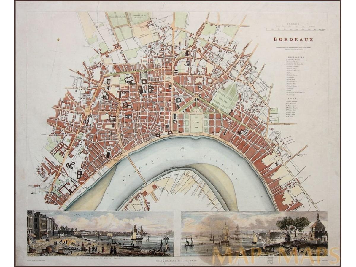 bordeaux antique map france by baldwin cradock 1832 On artisanat bordeaux antique