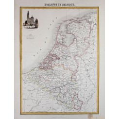Holland Low Countries Antique map by Migeon 1884