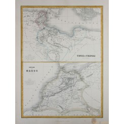 Africa Tunes et Tripoli – Empire of Maroc Migeon map1884