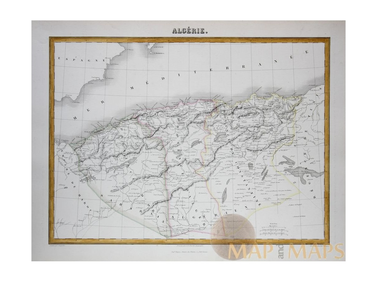 Algeria North Africa antique map Migeon 1884 Mapandmaps