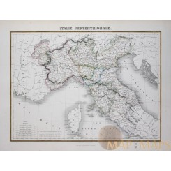 Italie Septentrionale North Italy Old map Migeon 1884