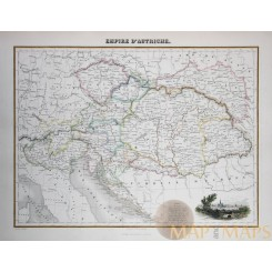 Austria Empire Antique map Hungary by Migeon 1884