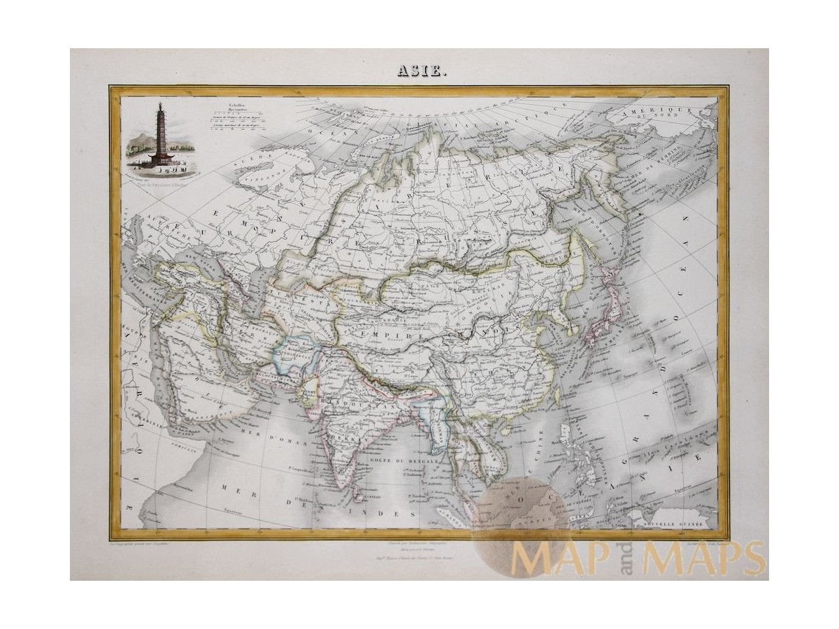 Asia continent old atlas map by migeon 1884 mapandmaps gumiabroncs Image collections