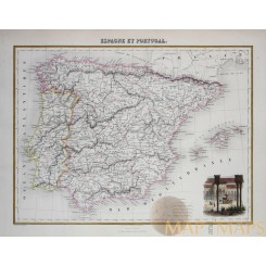 Antique map Spain and Portugal, Alhambra - Red Palace, Hand colored-Migeon 1884