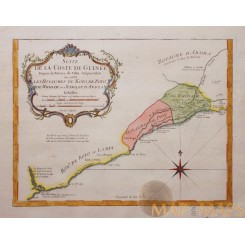 Colonial Guinea Kingdoms Africa Original engraving by Bellin 1748
