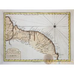 GUYANE, SURINAME, CARTE DE LA GUYANE, South America, ANTIQUE MAP BELLIN 1758