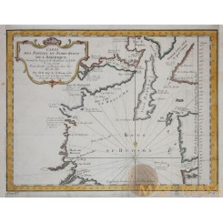 ANTIQUE MAP NORTH WEST AMERICA OTTAWA ISLANDS MIDDETON BELLIN 1753