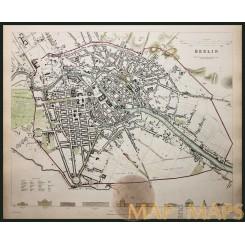 Berlin Germany Old Townplan Baldwin & Cradock Map 1833