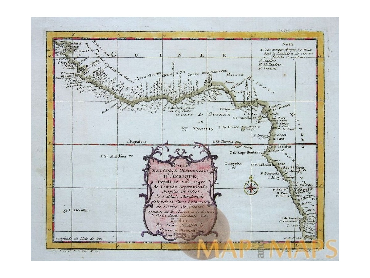 Cte occidentale dafrique old map bellin map 1756 mm la coste occidentale dafrique gold coast africa bellin 1739 loading zoom ccuart Images
