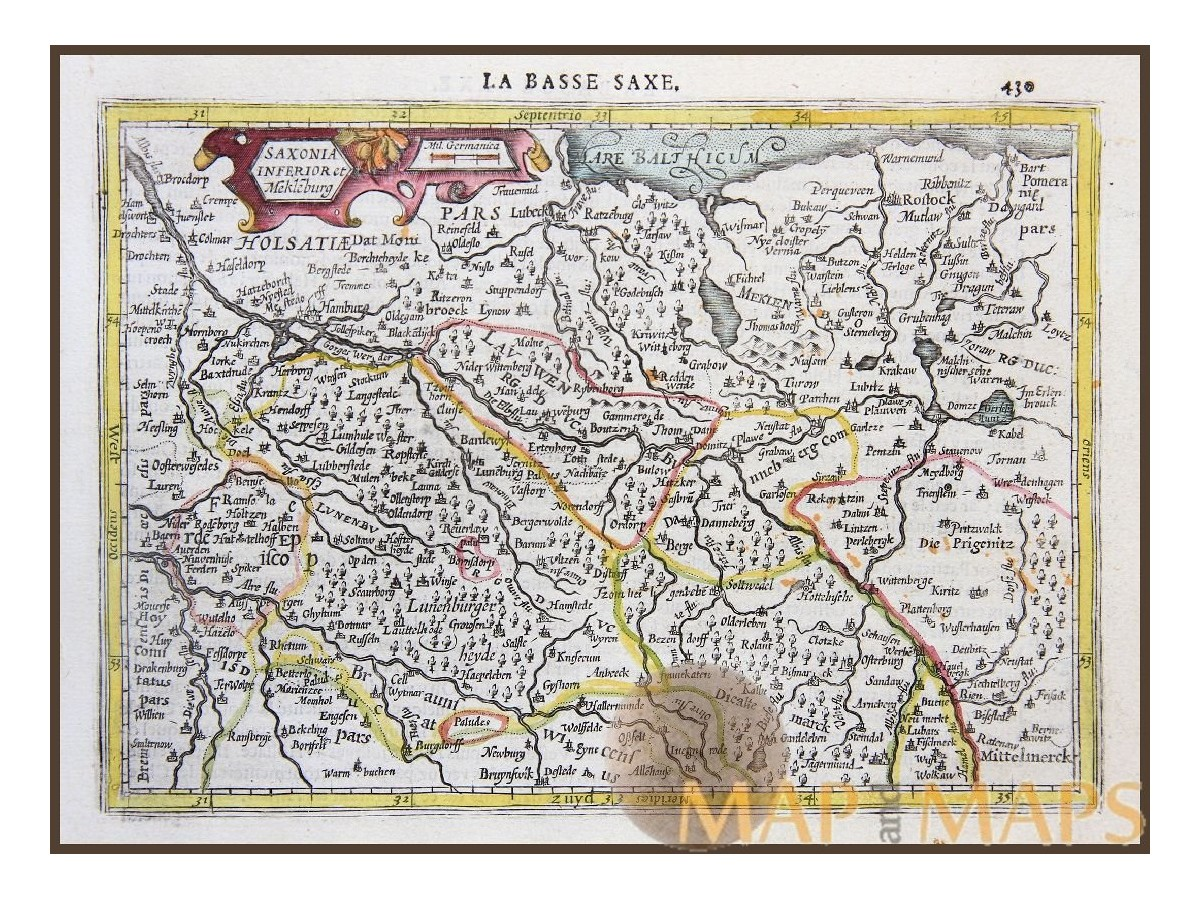 LOWER SAXONY LA BASSE SAXE GERMANY OLD MAP MERCATOR 1630