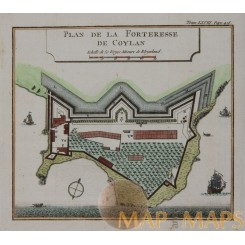 Plan de la Forteresse de Coylan Colonial India Bellin 1761