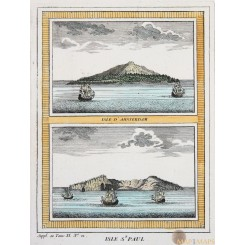 Indian Ocean, Amsterdam, St. Paul Islands antique map Bellin 1753