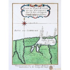 BAY OF CAMPECHE, MEXICO. ANTIQUE MAP BY BELLIN 1754