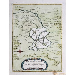 MAP OF LAKE MEXICO ANTIQUE MAP CARTE DE LAC DE MEXICO BY BELLIN 1759