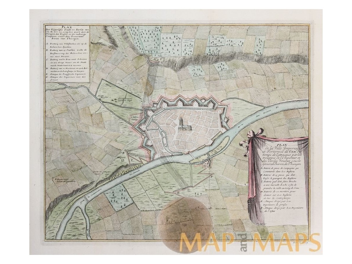 Battle plans Germany forteresse de Ulm Dumont 1729 MM
