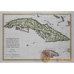 Isles de Cuba et de la Jamaique Cuba Jamaica Bonne 1780