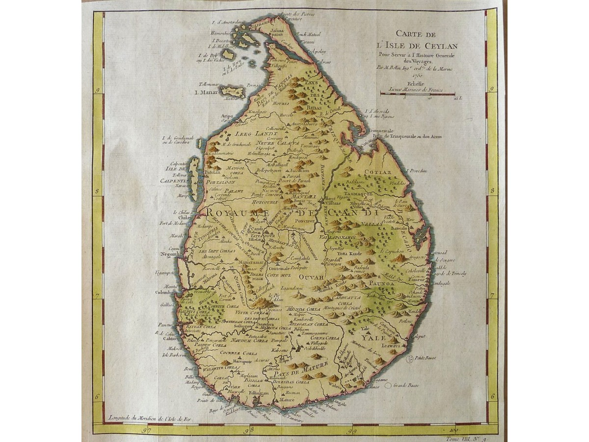 Reunion Island Bourbon Indian Ocean Old Map Bellin 1750 Loading Zoom