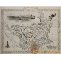 Turkey In Europe Ali Pasha Antique Map Rapkin/Tallis 1851