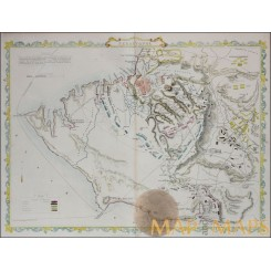 Sebastapol Crimean War Antique map Russia Tallis 1851