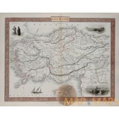 Asia Minor Ottoman Empire Rapkin / Tallis map 1851