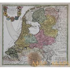Holland Antique Map Septem Provinciae Seu Homann 1748
