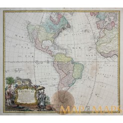 Americae Mappa generalis North & South America Homann 1746