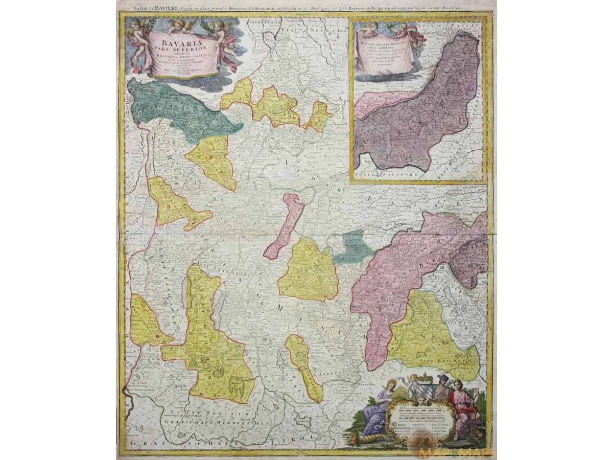 Bavariae Pars Superior Fine Old Map Bavaria Homann MM - Pars map