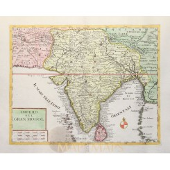 Impero Del Gran Mogol antique map India Albrizzi 1740