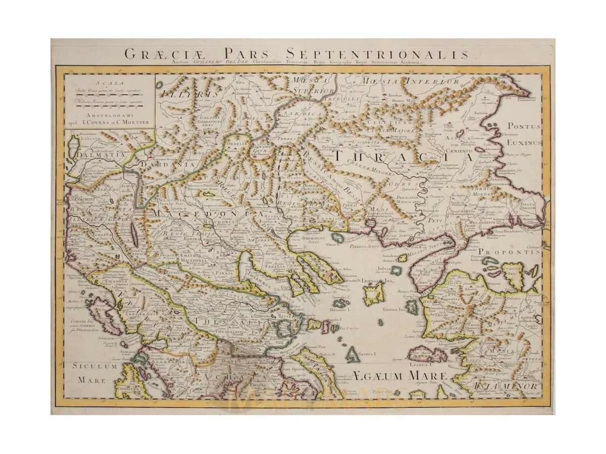 Graeciae Pars Septentrionalis North Greece De Lisle MM - Pars map
