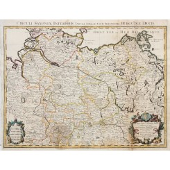 LE CERCLE DE LA BASSE SAXE antique map North Germany by JALLOIT 1708