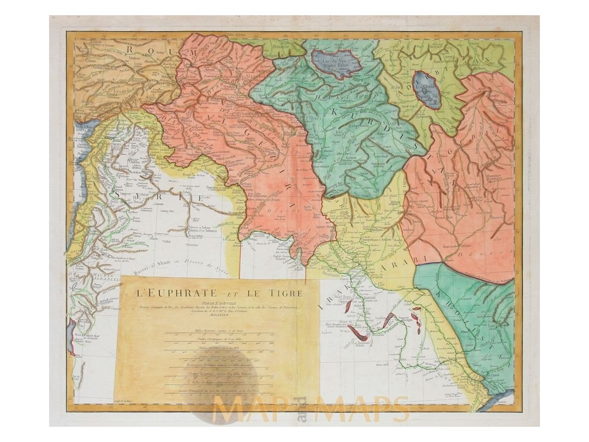 Euphrate Et Le Tigre old map Euphrates Tigris Anville 1780