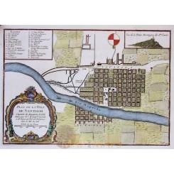 PLAN DE LA VILLE DE SANTIAGO antique map Santiago de Chile Bellin 1754