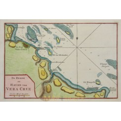 Fine antique map copperplate engraved with hand coloring of the town Veracruz in Mexico.