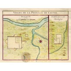 Villes de la Province de Chensi - Shanxi, China - Bellin 1748