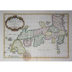 Japan old map Carte de L'Empire du Japon Bellin 1752