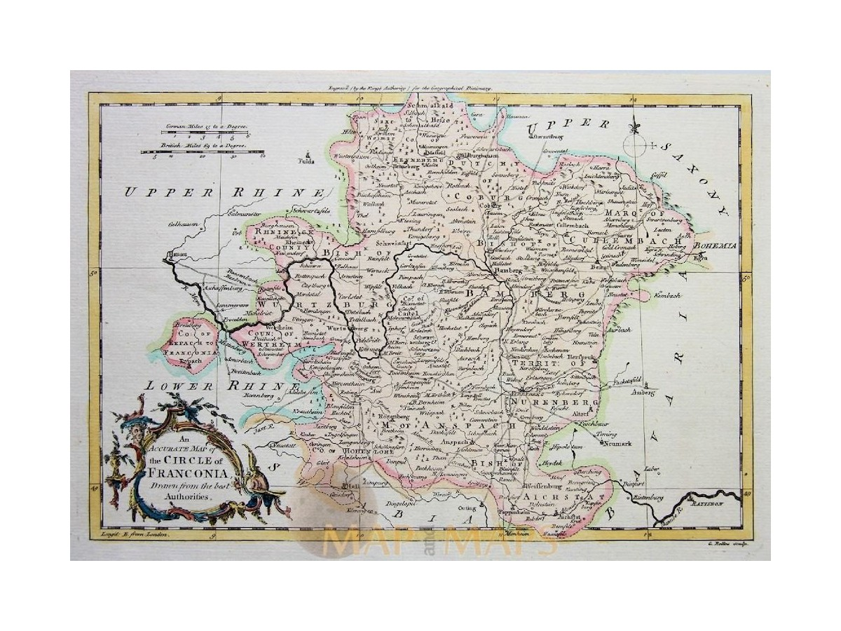 circle of franconia germany old map rollos 1773 m m. Black Bedroom Furniture Sets. Home Design Ideas