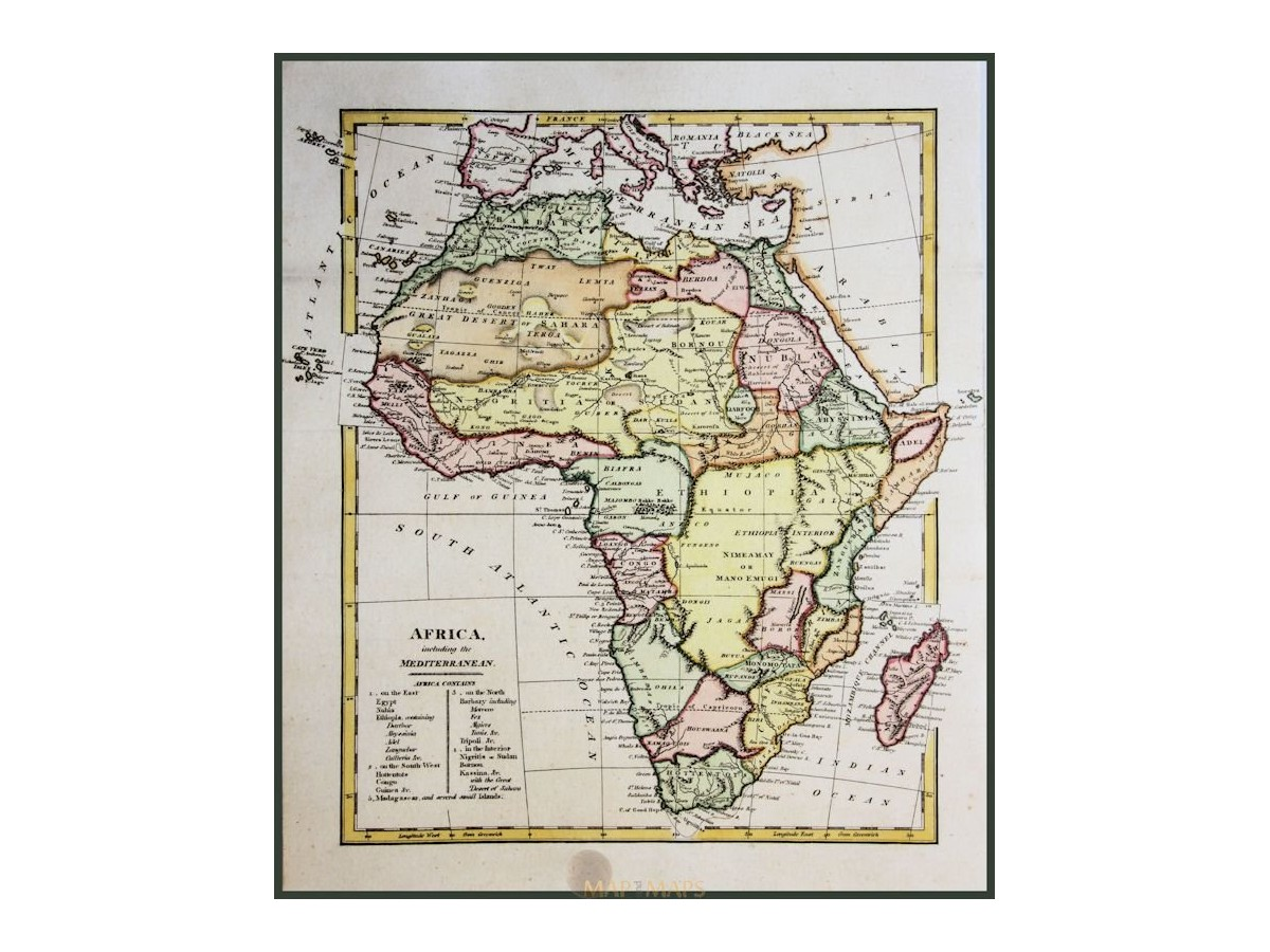 Africa including the Mediterranean Wilkinson 1794 Map and Mapscom