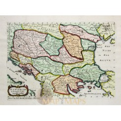 Hongary Balkan States ANTIQUE MAP Hongrie by Sanson 1656