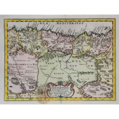 ALGIERS BARBARY COAST OLD MAP Partie de Barbarie Le Royaume D'Alger SANSON 1683