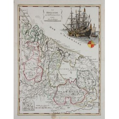 Holland Antique map La Hollande Unies Le Rouge 1748