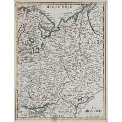 Antique map, Grand Duchy of Moscow, Muscovy, Russia, by Le Rouge 1748