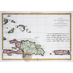 Santo Domingo Puerto Rico Caribbean map Bonne 1780