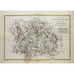 Old Map Lower and upper Rhine France, Germany by BONNE 1787