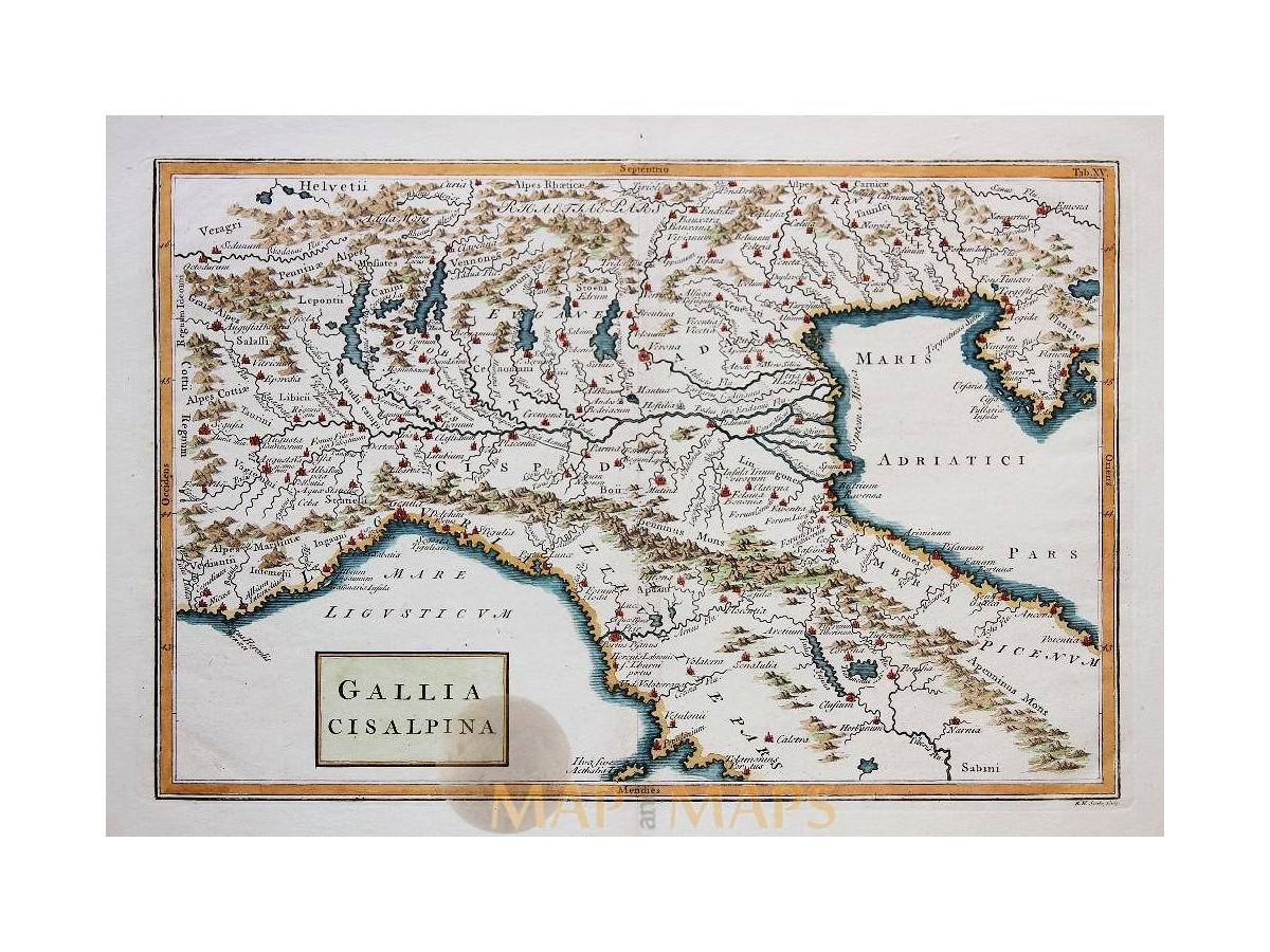 North italy antique old map gallia cisalpina cellarius mm north italy venice gallia antique map gallia cisalpina cellarius 1796 loading zoom gumiabroncs Choice Image
