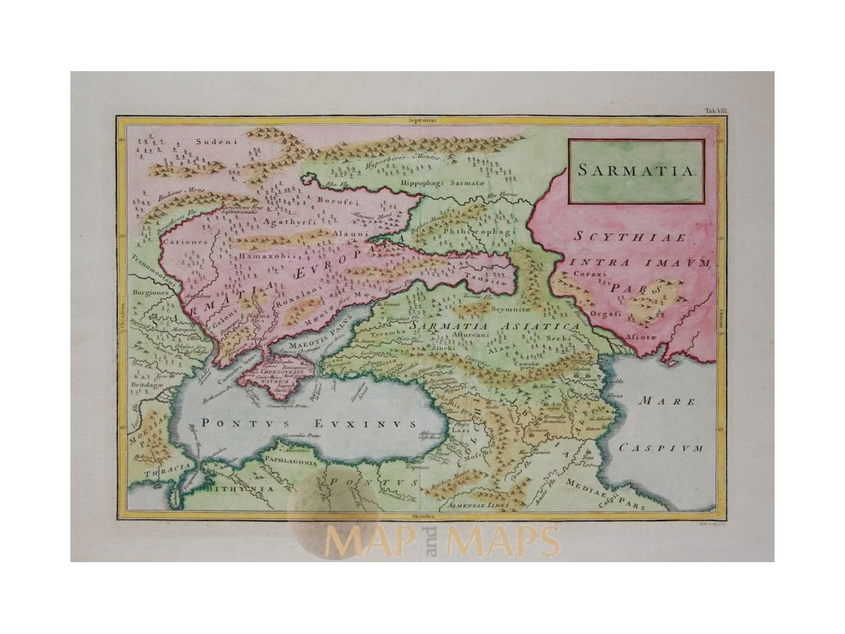 Central Asia Sarmatia Black Sea Old Map Cellarius MM - Georgia map ukraine