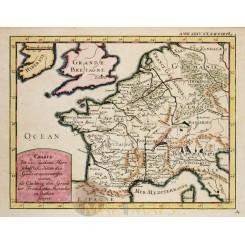 Gallia France Roman period antique map by Cellarius 1743